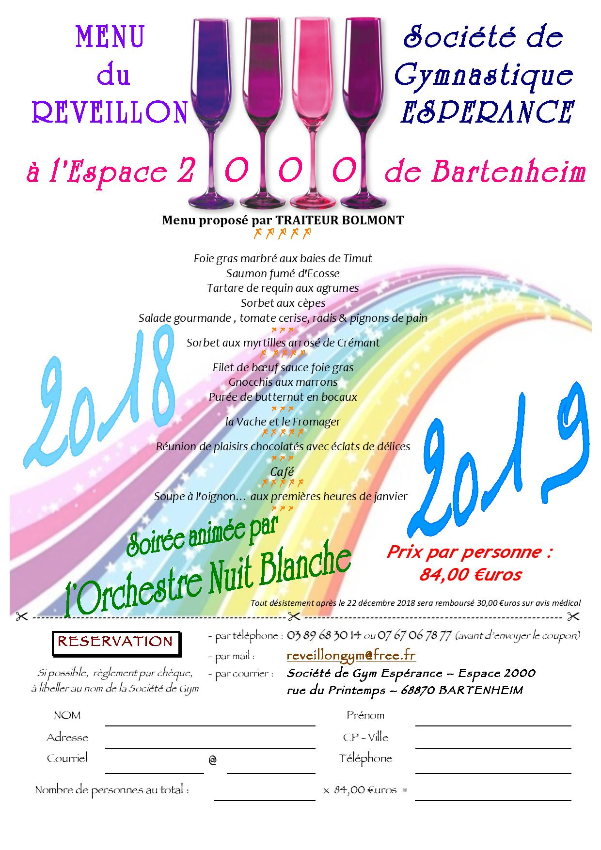 Rveillon 2018-2019 Menu GYM BARTENHEIM